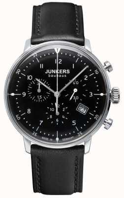 Junkers メンズバウハウスクロノグラフブラックレザーストラップ 6086-2