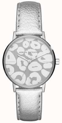 Armani Exchange レディースロラシルバーレザーストラップステンレススティールケース AX5539