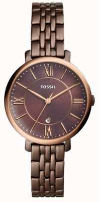Fossil 女性のジャカードの茶色のステンレススチールの時計 ES4275