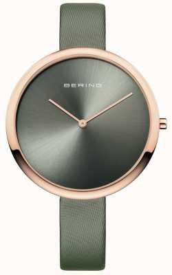Bering レディースクラシックサテンレザーストラップサンレイダイヤルグリーン 12240-667