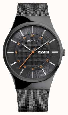 Bering メンズクラシック多機能ブラックメッシュブレスレット 12939-222