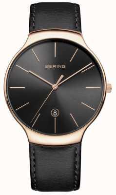 Bering メンズクラシック日付ブラックレザーストラップ 13338-462