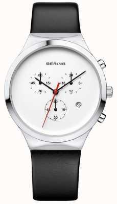 Bering メンズクラシックホワイトクロノグラフブラックレザーストラップ 14736-404