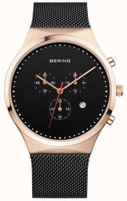 Bering メンズクラシックブラッククロノグラフブラックミラニアストラップ 14740-166