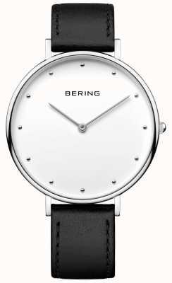 Bering ユニセックスクラシックブラックレザーストラップウォッチ 14839-404