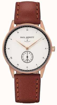 Paul Hewitt ユニセックスシグネチャーブラウンレザーストラップ PH-M1-R-W-1M
