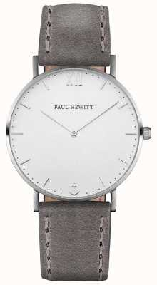 Paul Hewitt ユニセックスセーラーグレーレザーストラップ PH-SA-S-ST-W-13M