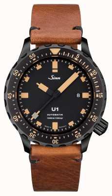 Sinn U1 SEボートスチールヴィンテージブラウンレザーVステッチ 1010.023