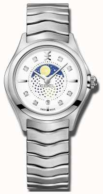 EBEL レディースウェーブダイヤモンドセットムーンフェイズステンレススチール時計 1216372