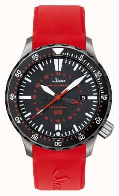 Sinn U2 sdr uボートスチールミッションタイマーダイバーレッドシリコン 1020.040