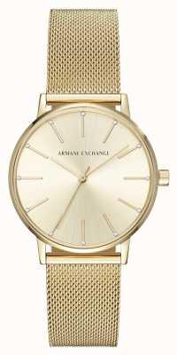 Armani Exchange 女子ゴールドメッキブレスレットウォッチ AX5536