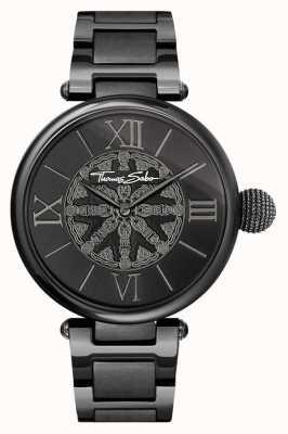 Thomas Sabo レディースカルマブラックIPスチール腕時計 WA0307-202-203-38