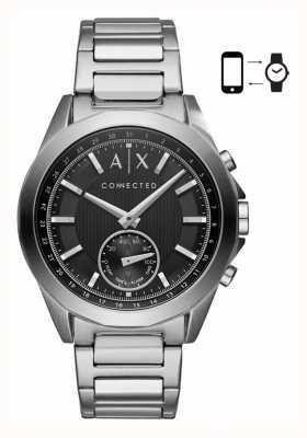 Armani Exchange Mensハイブリッドスマートウォッチステンレススチールブレスレットブラックダイヤル AXT1006
