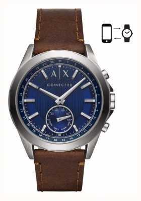 Armani Exchange Mensハイブリッドスマートウォッチブラウンレザーストラップブルーダイヤル AXT1010