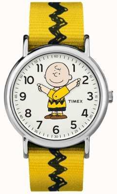 Timex ウィークエンダーチャーリーブラウンピーナッツイエローストラップ TW2R411006B
