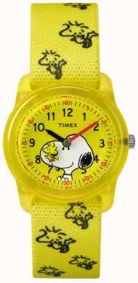 Timex 若者のアナログ黄色のストラップwoodstockスヌーピー TW2R41500JE