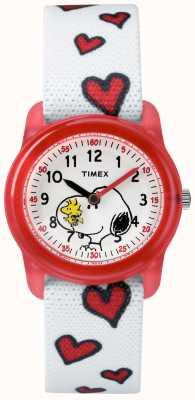 Timex 若者のアナログホワイトストラップスヌーピーの心 TW2R41600JE