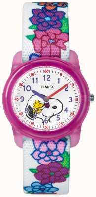 Timex 若者のアナログホワイトストラップスヌーピーの花 TW2R41700JE