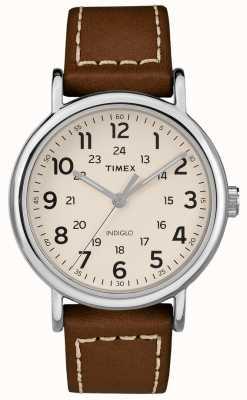 Timex メンズウィークエンドブラウンレザーストラップホワイトダイヤル TW2R42400