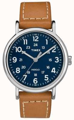 Timex メンズウィークエンドタンレザーストラップブルーダイヤル TW2R42500D7PF