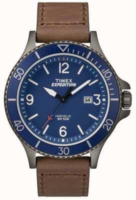 Timex 遠征レンジャーブラウンレザーストラップブルーダイヤル TW4B10700