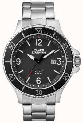 Timex Mens遠征レンジャーメタルブレスレットブラックダイヤル TW4B10900