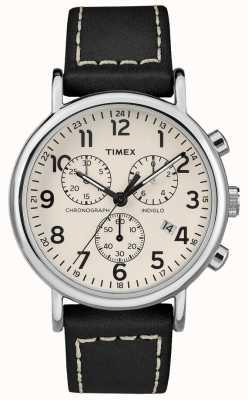 Timex メンズウィークエンドクロノグラフブラックレザーストラップ TW2R42800D7PF