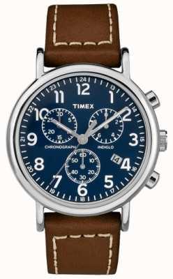 Timex メンズウィークエンドクロノグラフブラウンレザーストラップ TW2R42600D7