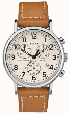 Timex メンズウィークエンドクロノグラフレザーストラップ TW2R42700D7PF