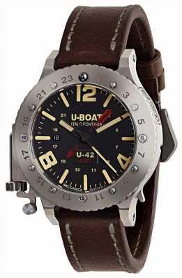 U-Boat 限定版u-42 gmt 50mmブラウンレザーストラップ 8095