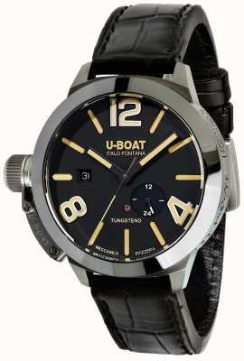 U-Boat Stratos 45 bk自動ブラックレザーストラップ 9006