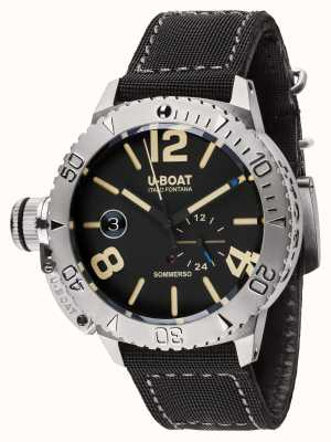 U-Boat Sommerso 46 bk自動ブラックラバーストラップ 9007