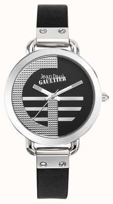 Jean Paul Gaultier レディースインデックスgブラックレザーストラップブラックダイヤル JP8504315