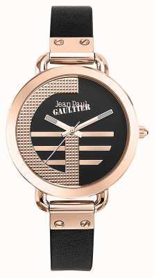 Jean Paul Gaultier レディースインデックスgブラウンレザーストラップブラックダイヤル JP8504325