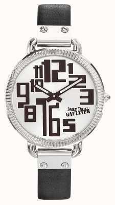 Jean Paul Gaultier レディースインデックスブラックレザーストラップシルバーダイヤル JP8504305