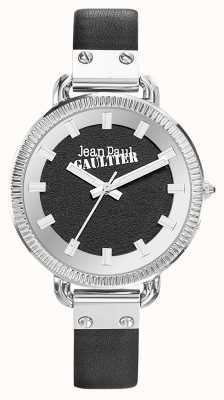 Jean Paul Gaultier レディースインデックスブラックレザーストラップブラックダイヤル JP8504312