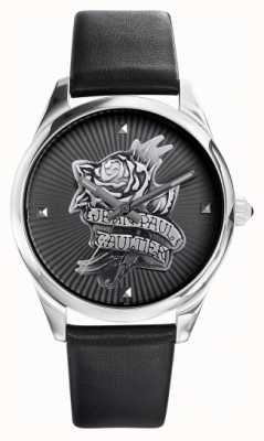 Jean Paul Gaultier ネイビータトゥーブラックレザーストラップブラックダイヤル JP8502412