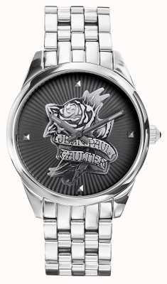 Jean Paul Gaultier ネイビータトゥーステンレススチールブレスレットブラックダイヤル JP8502407