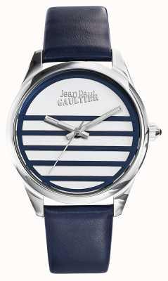 Jean Paul Gaultier ネイビーブルーレザーストラップホワイトダイヤル JP8502409