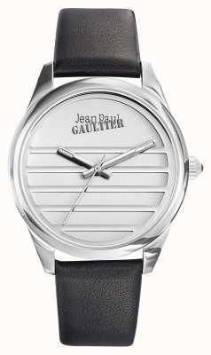 Jean Paul Gaultier ネイビーブラックレザーストラップホワイトダイヤル JP8502408