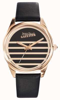 Jean Paul Gaultier ネイビーブラックレザーストラップブラックダイヤル JP8502410