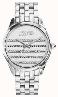 Jean Paul Gaultier ネイビーステンレススチールブレスレットホワイトダイヤル JP8502404