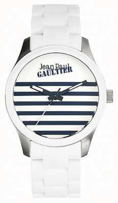 Jean Paul Gaultier Enfantsひどい白いゴム製のスチールブレスレットのホワイトダイヤル JP8501120