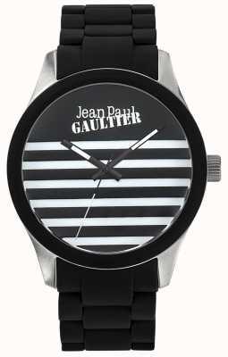 Jean Paul Gaultier Enfantsひどいブラックラバースチールブレスレットブラックダイヤル JP8501121