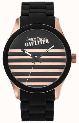 Jean Paul Gaultier Enfantsひどいブラックラバースチールブレスレットブラックダイヤル JP8501122