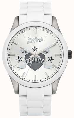 Jean Paul Gaultier Enfantsひどい白いゴム製のスチールブレスレットのホワイトダイヤル JP8501123