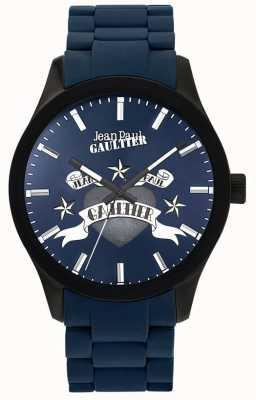 Jean Paul Gaultier Enfantsひどい青色のゴム製のスチールブレスレットのブルーダイヤル JP8501124