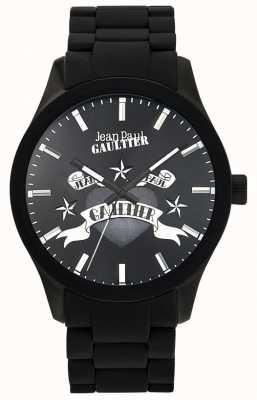 Jean Paul Gaultier Enfantsひどいブラックラバーブレスレットブラックダイヤル JP8501125