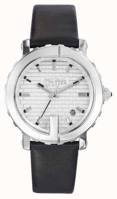 Jean Paul Gaultier レディースポイントgブラックレザーストラップシルバーダイヤル JP8500515
