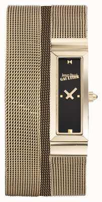 Jean Paul Gaultier レディースコートドメレルゴールドpvdメッシュブレスレットブラックダイヤル JP8503903